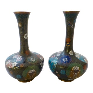 Antique Meiji Period Cloisonne Vase - A Pair