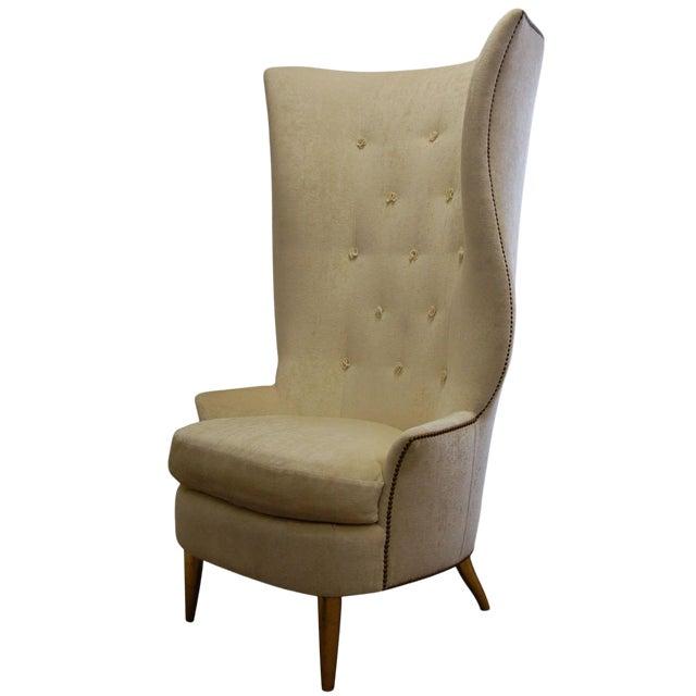 Custom Gudinna Tall Barrel Wing Chair For Sale