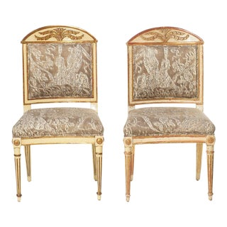 Set of 12 ...19th C Italian Giltwood and Painted Dining Chairs For Sale