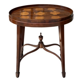 Early 20th Century English Tray Table With Tea Service Inlay For Sale