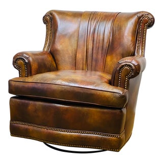 Hancock & Moore Swivel Club Chair For Sale