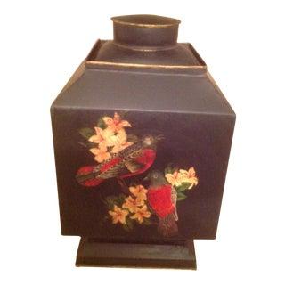 Vintage 1990s Vintage Hand Painted Black English Tole Tea Caddy For Sale