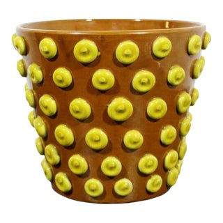 Mid Century Modern Brown Yellow Ceramic Art Vase Flower Pot Made in Italy 1960s For Sale