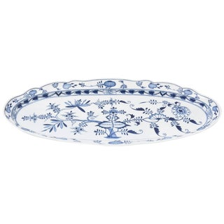 Meissen Blue Onion Fish Platter, Vintage With Their Classic Blue and White Motif For Sale