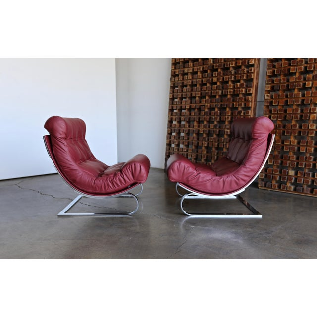 Modern Renato Balestra Leather Lounge Chairs for Cinova Italy, Circa 1970 For Sale - Image 3 of 11
