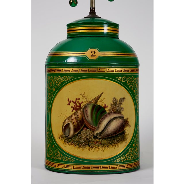 English Traditional Early 20th Century Apple Green Tea Canister Lamp #1 For Sale - Image 3 of 6