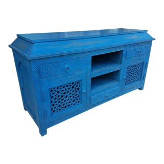 Moroccan Turquoise Media Cabinet For Sale