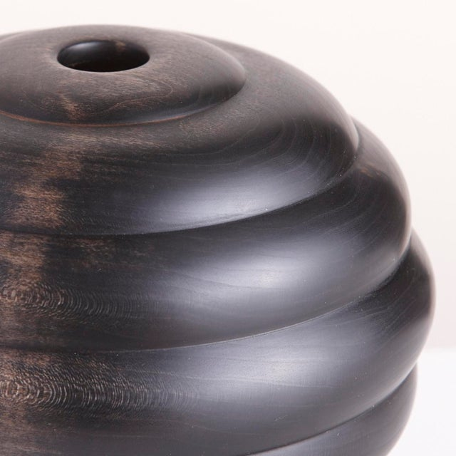 Abstract Ebonized Turned Cherry Wood 'Hive' Vessel No. 3 For Sale - Image 3 of 5