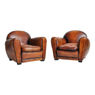French Brown Leather Armchairs With Dark Brown Piping - a Pair For Sale