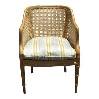 Vintage French Provincial Cane Club Chair With Blue Stripped Down Cushion