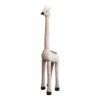 Vintage White Wicker Giraffe Planter For Sale