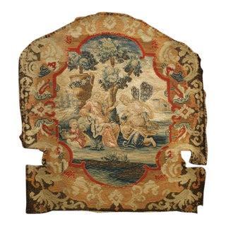 Rare 17th C. French Scenic Silk Tapestry With Needlepoint Border Chair Back Panel For Sale