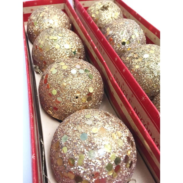 Gold Vintage gold glitter Spangle ball ornaments - Set of 8 For Sale - Image 8 of 12