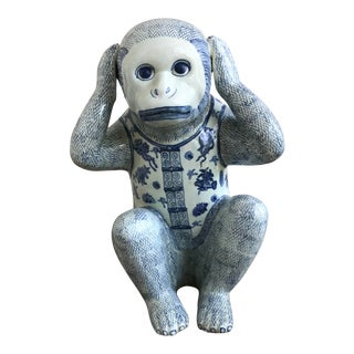 Late 20th Century Vintage Chinoiserie Porcelain Monkey For Sale