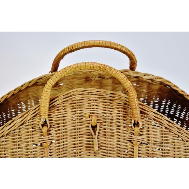 Vintage Wicker Tote Basket For Sale - Image 4 of 11