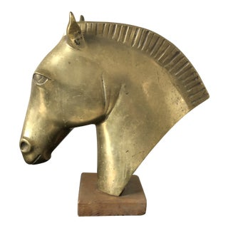 French Art Deco Heavy Brass Horse Head Sculpture For Sale