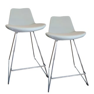 Pera Wire Light Gray Counter Stools - A Pair