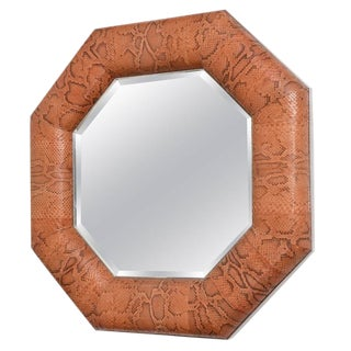 Mid Century Modern Octagonal Mirror, Dyed-Python Snakeskin, Polished Steel For Sale