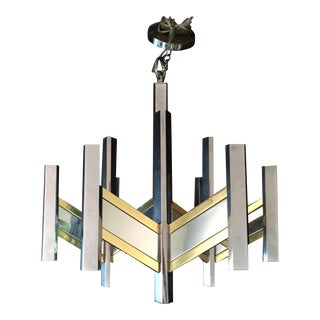 Gaetano Sciolari Chevron Chandelier in Brass and Chrome For Sale