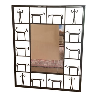 Mid Century Frederick Weinberg Wrought Iron Mirror For Sale