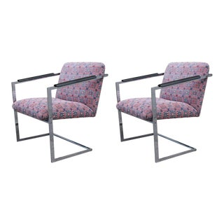 Architectural Chrome Chairs in the Manner of Milo Baughman - a Pair