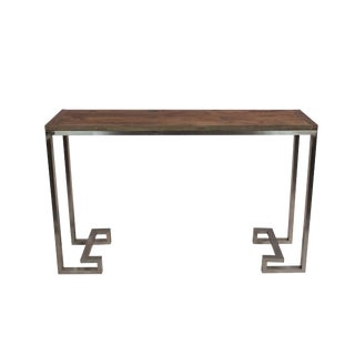 Reclaimed Wood Console With Stainless Steel Base For Sale