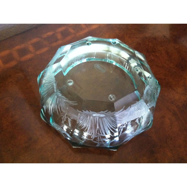 Green Moser Crystal Candy Dish, Signed - Image 6 of 7