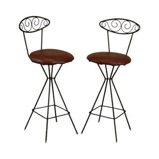 Mid Century Modern Pair Wrought Iron Barstools For Sale