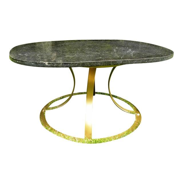 Hollywood Regency Black Marble Coffee Table - Image 1 of 8