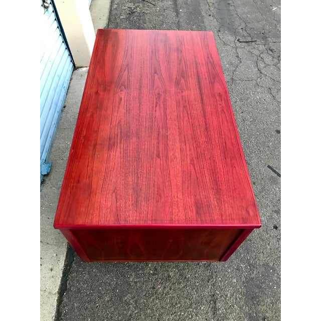 1950s 1950s Refinished 'Painted Lady' Pontoon Base Executive Desk For Sale - Image 5 of 13