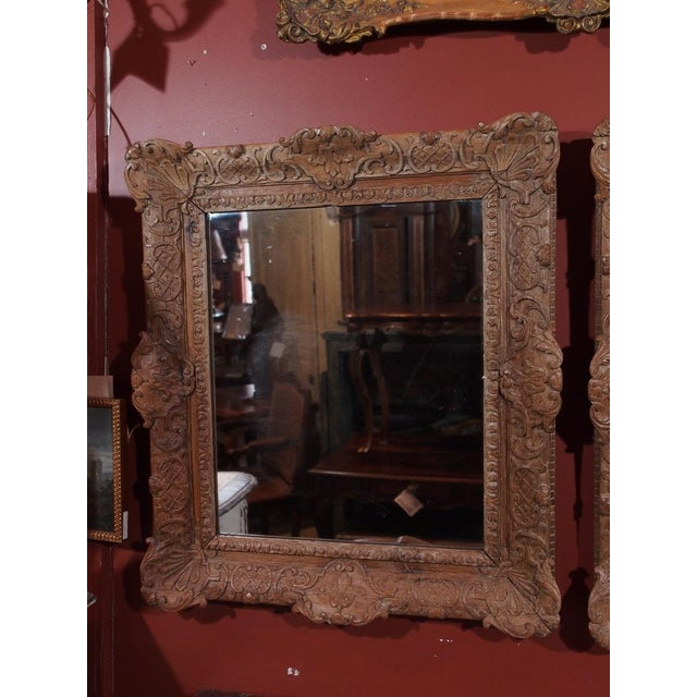 Pair of 19th Century French Carved Oak Mirrors For Sale - Image 4 of 11