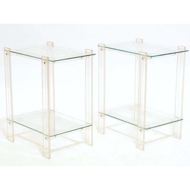 Pair Of Lucite And Glass End Tables/ Night Stands - Image 2 of 7