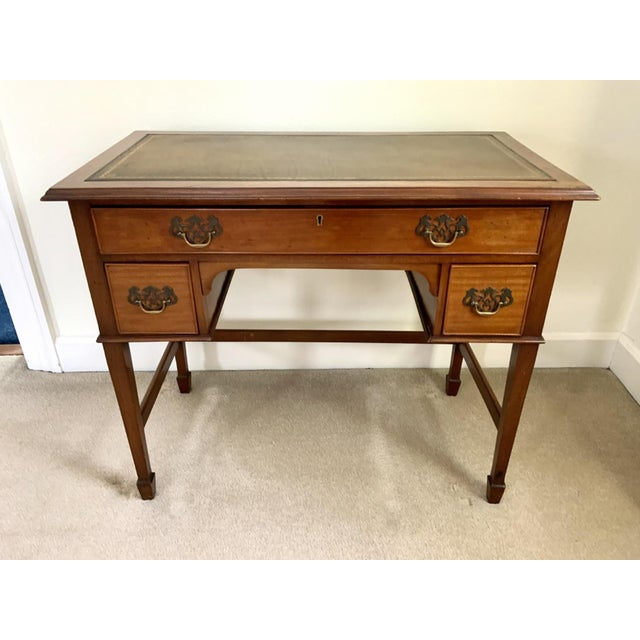 Vintage Georgian Walnut Writing Table With Tooled Leather Top For Sale - Image 12 of 12