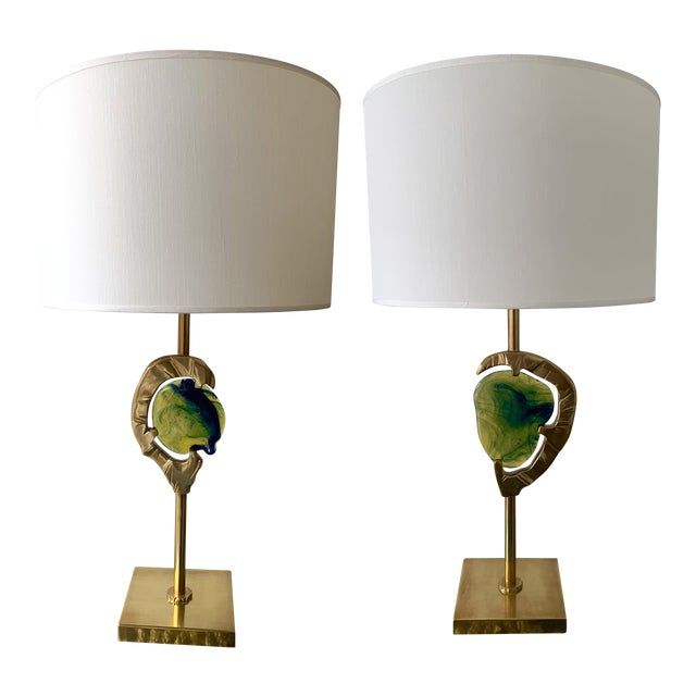 Brass Murano Glass Lamps by Esperia Italy, 1990s - a Pair For Sale