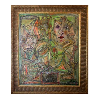 Original Expressionist Oil on Cork Painting by Alexander Gore. For Sale