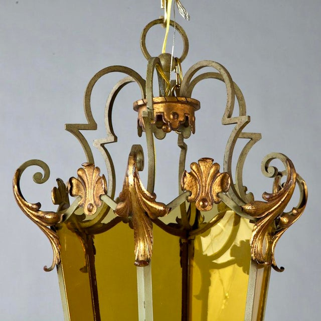 Italian Six Panel Gilt and Amber Glass Hall Lantern C.1920 For Sale - Image 4 of 5