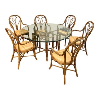 1970s Vintage McGuire Dining Rattan and Bamboo Table Set For Sale