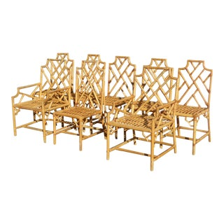 Set of Eight Vintage Rattan Chinese Chippendale Style Chairs