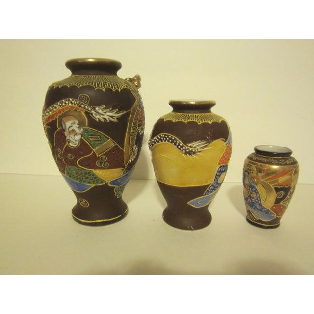 Vintage Japanese Satsuma Vases - Set of Three - Image 7 of 11