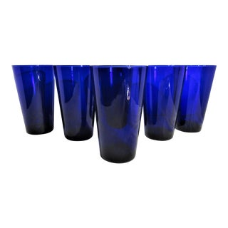 Mid-Century Cobalt Blue Glass Tumblers - Set of 6 For Sale