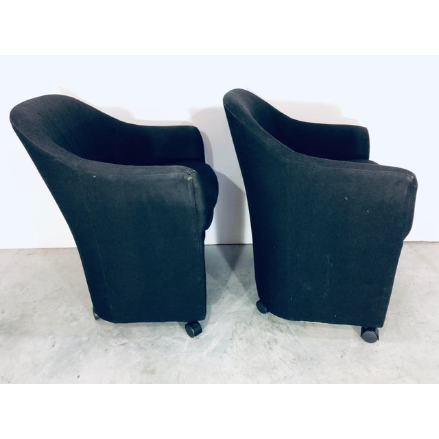 Contemporary Thayer Coggin Black Denim Dining Arm Chairs- a Pair For Sale - Image 3 of 13