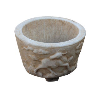 Chinese Off White Gray Marble Stone Carved Round Carved Pot Planter For Sale