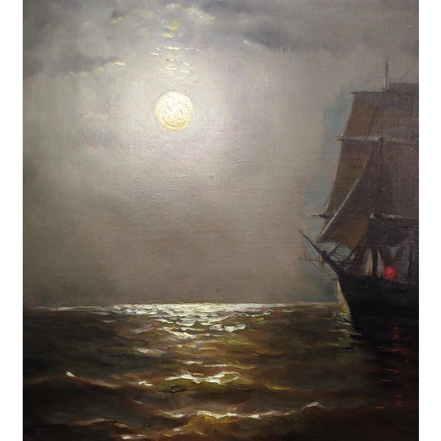 19th Century 19th Century Ship Sailing by Moonlight -Oil Painting Signed by Miller For Sale - Image 5 of 9