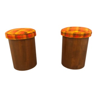 Mid Century Danish Small Teak Ottomans- A Pair For Sale