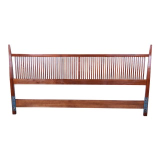Kipp Stewart for Directional Sculpted Walnut King Size Headboard For Sale