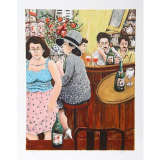 David Azuz, Grey Lady Red Bar, Lithograph For Sale