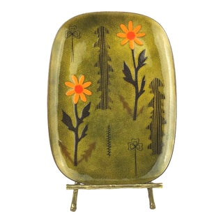 Miguel Pineda Mexican Enamel Dish with Trees and Flower Motif For Sale