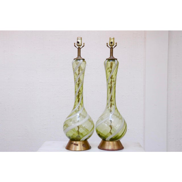 Metal Italian Blown Ribbon Glass Lamps, a Pair For Sale - Image 7 of 7