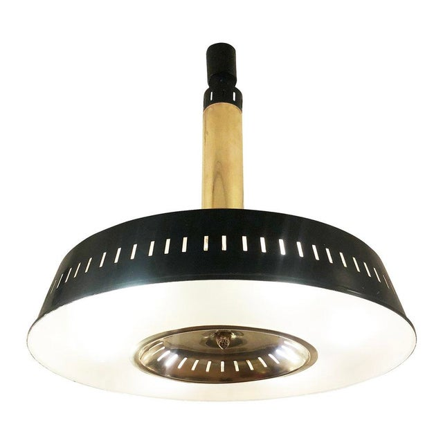 1960s Stilnovo Lacquered Black and Brass Ceiling Light, Italy For Sale In New York - Image 6 of 6