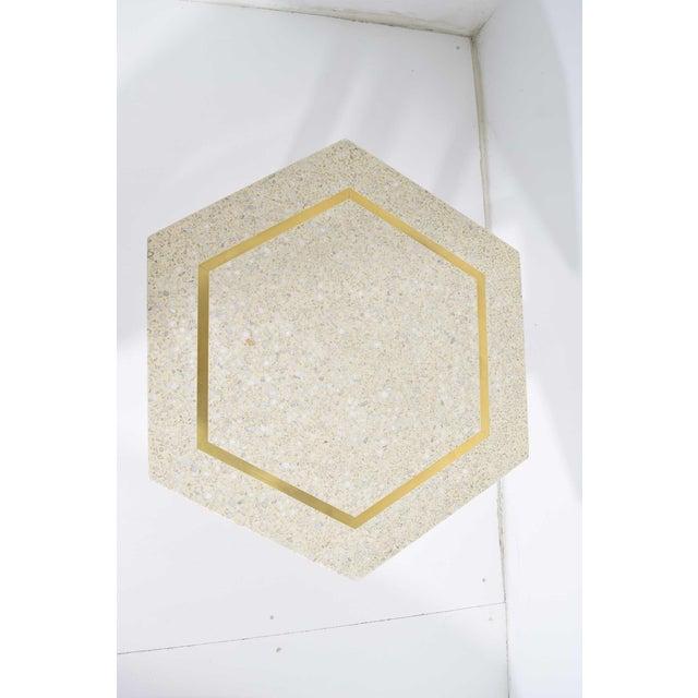 White Harvey Probber Hexagonal Terrazzo Side Table For Sale - Image 8 of 9